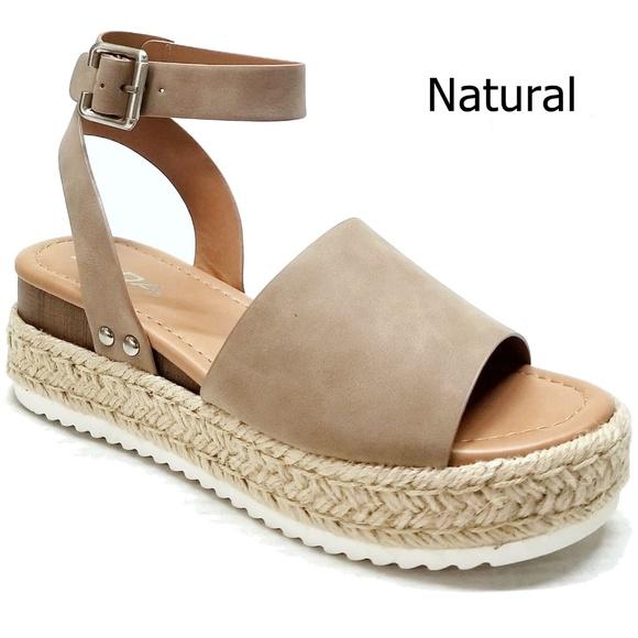 Soda Natural Platform Espadrilles Flatform Sandals Boutique
